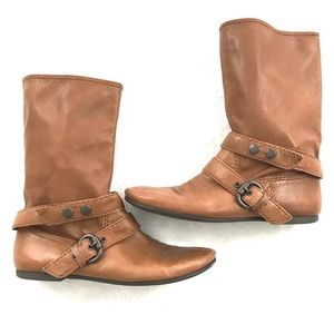 Nine West Sheriff Tan Brown Booties with Buckle